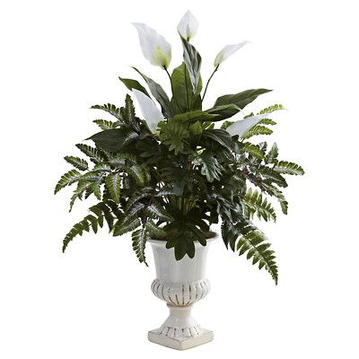 Nearly Natural Mixed Greens & Spathiphyllum w/Decorative Urn