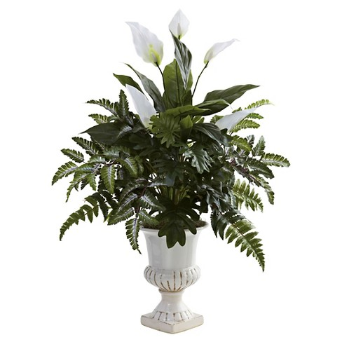 Nearly Natural Mixed Greens & Spathiphyllum w/Decorative Urn - image 1 of 3