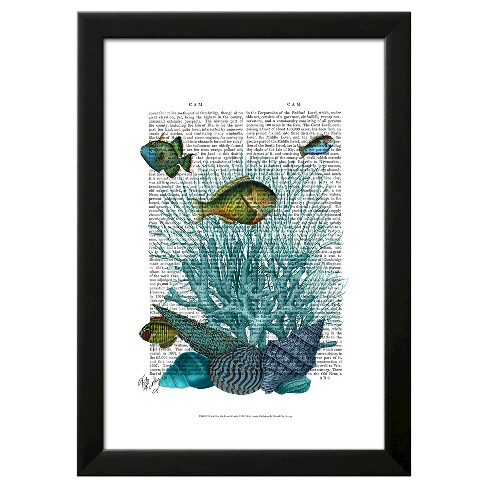Fish Blue Shells and Corals Framed Art Print - image 1 of 3