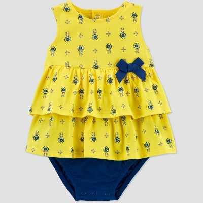 Baby Girls' Geo Sunsuit Romper - Just One You® made by carter's Yellow 3M