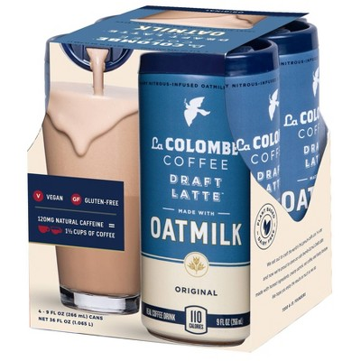 La Colombe Original Draft Latte made with Oatmilk - 4pk/9 fl oz Can
