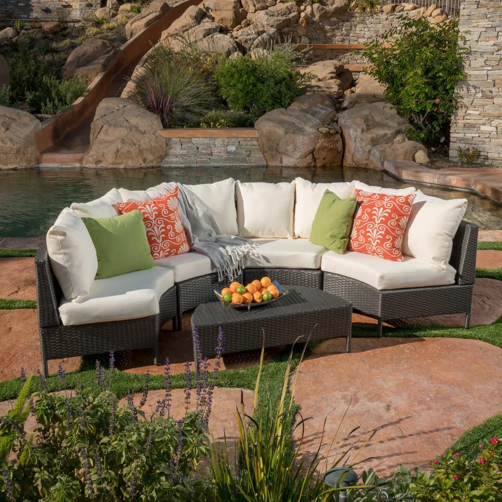 Newton 5pc Wicker Sofa Set - Grey/White - Christopher Knight Home, Gray