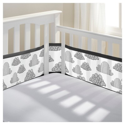 BreathableBaby® Mesh Crib Liner - In the Clouds - Black/White