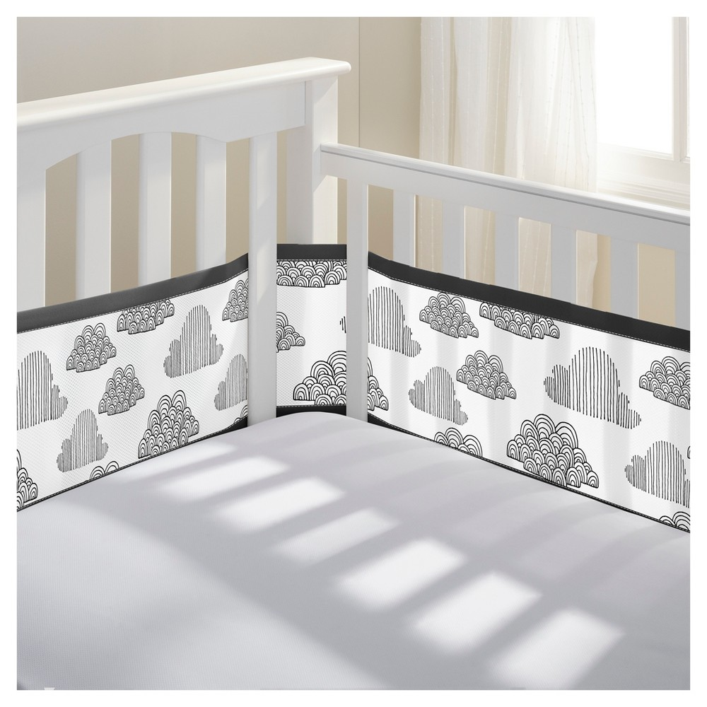 BreathableBaby Mesh Crib Liner - In the Clouds - Black/White, In The Clouds Black And White