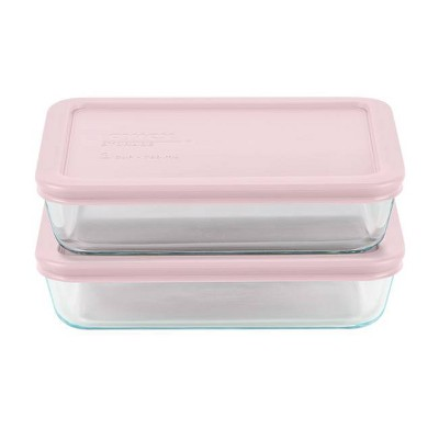 Pyrex 3cup 4pc Rectangular Food Storage Containers Set Pink