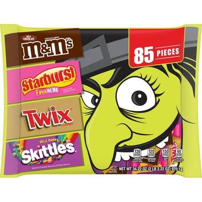 M&M's, Skittles, Starburst, Twix Halloween Candy Variety Pack - 34.22oz/85ct