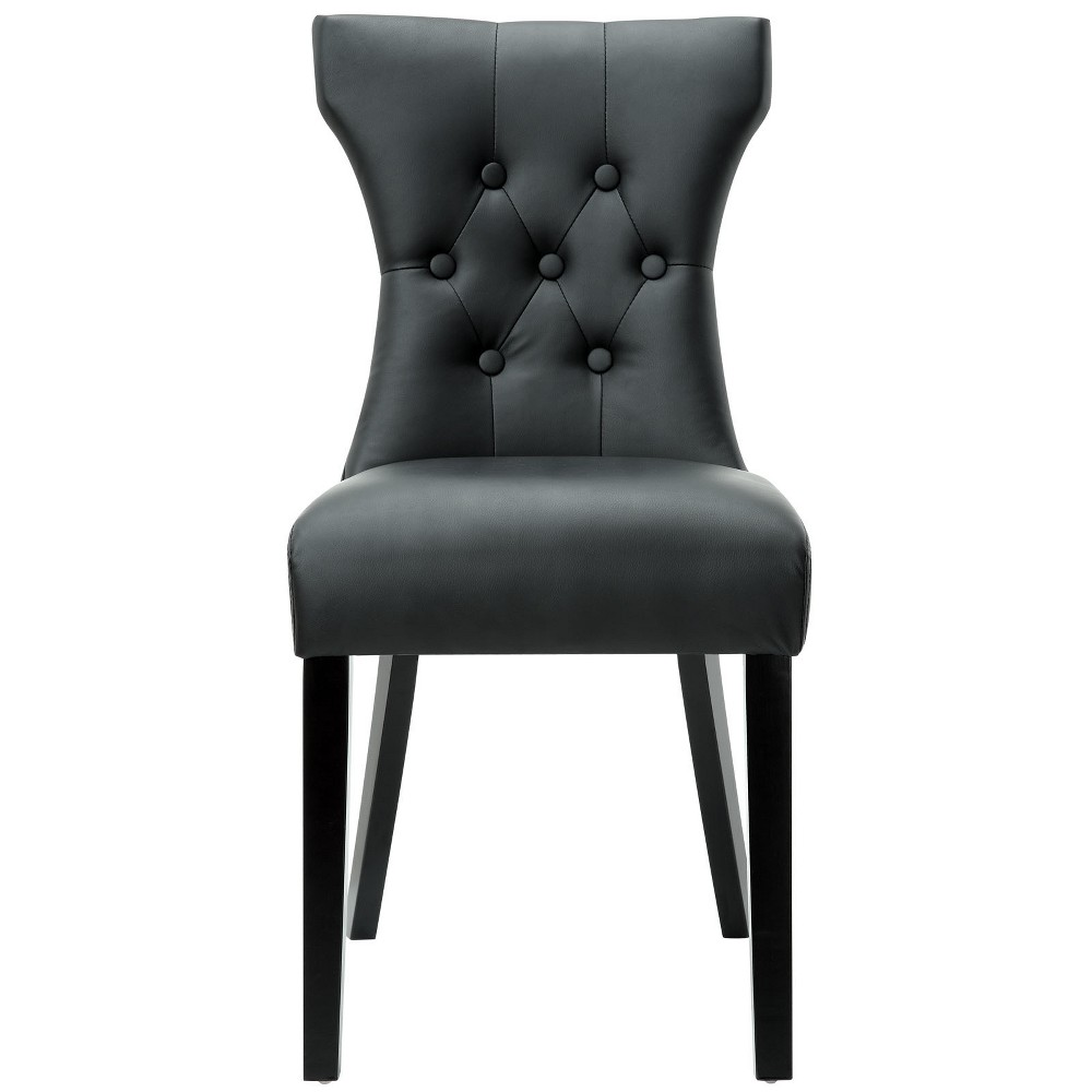 Silhouette Dining Vinyl Side Chair Black - Modway