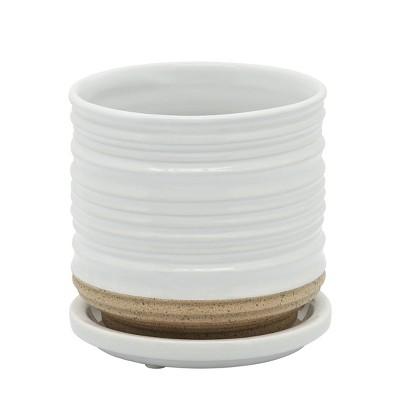 """4.5"""" Ceramic Planter with Saucer White - Sagebrook Home"""