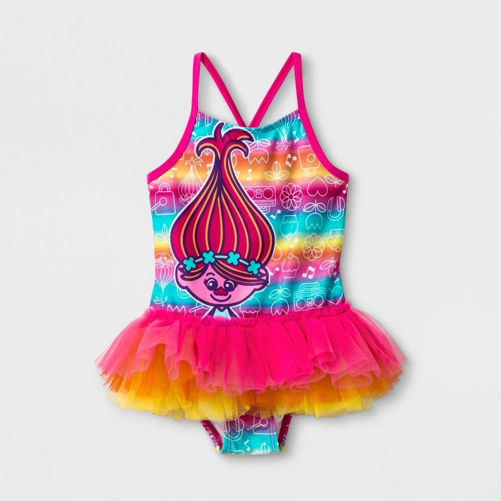 Toddler Girls' Trolls Poppy One Piece Swimsuit - Pink 3T She'll be as happy as Poppy Troll when she spends her day at the beach or pool wearing this Trolls Poppy One-Piece Swimsuit. This toddler Poppy Troll swimsuit features the happiest troll of all smiling out against a backdrop of rainbow stripes with white outlines of Poppy, flowers, cupcakes and boomboxes. The straps of the toddler Trolls swimsuit cross in the back to better stay in place, and an attached tutu skirt adds extra fun for a swim outfit your little one will love. With Upf 50+ material, this swimsuit also helps to protect her skin while in the sun. Size: 3T. Color: Pink. Gender: Female. Pattern: Fictitious character. Material: Polyester.