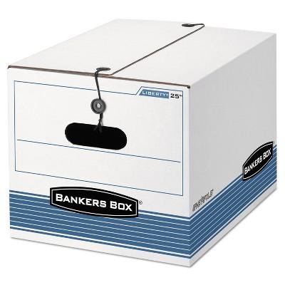 Bankers Box STOR/FILE Storage Box Legal/Letter Tie Closure White/Blue 4/Carton 0002501