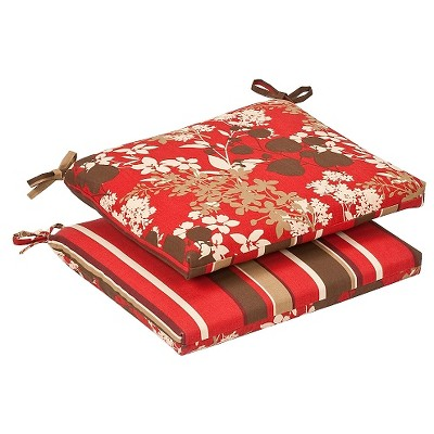 2-Piece Outdoor Reversible Seat Pad/Dining/Bistro Cushion Set - Brown/Red Floral/Stripe