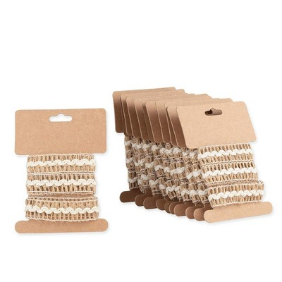"""Genie Crafts 12-Pack Brown Burlap Jute Fabric Ribbon Trim Roll with White Trim 0.7"""" x 1.09-Yard for Crafts"""