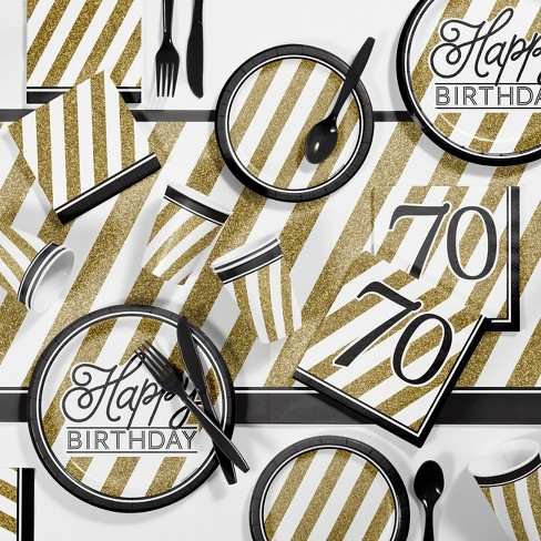70th Birthday Party Supplies Kit Black Gold Target
