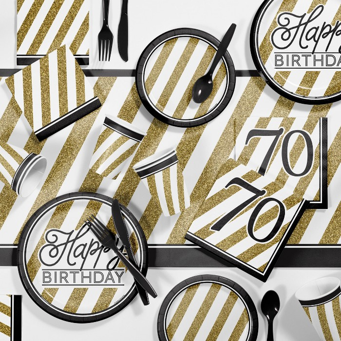 70th Birthday Party Supplies Kit Black/Gold - image 1 of 2