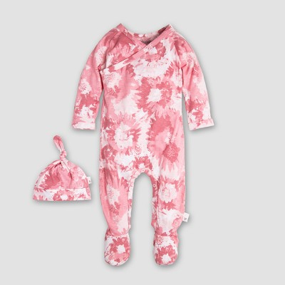 Burt's Bees Baby Girls' Organic Cotton Wrap Front Footed Coverall & Hat Set - Pink 3-6M