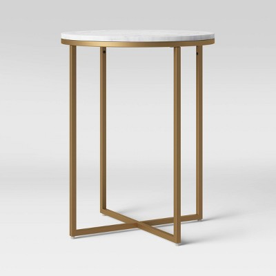 Dale Round White Marble Top End Table with Brass Base - Project 62™