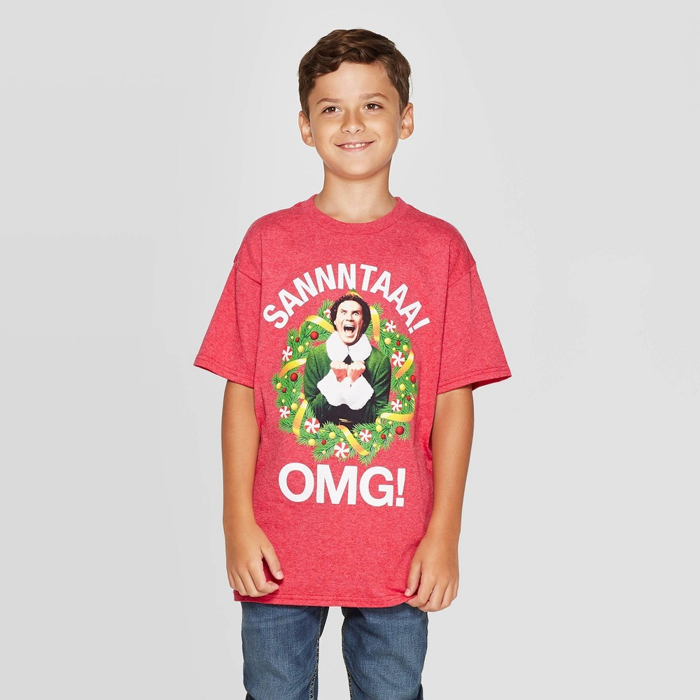 Image of petiteBoys' Elf Short Sleeve Sannntaaa OMG ! T-Shirt - Red XS, Boy's