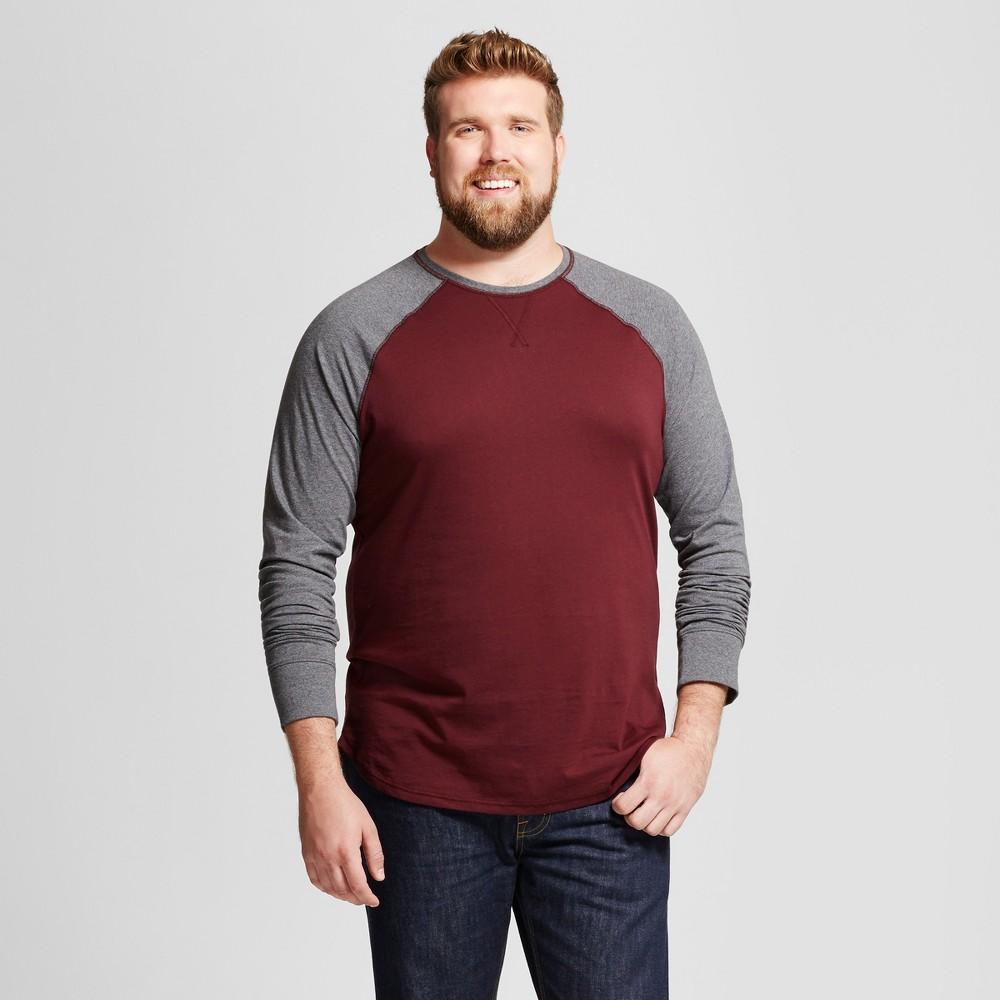 Men's Big & Tall Standard Fit Long Sleeve Baseball T-Shirt - Goodfellow & Co Burgundy (Red) 5XB