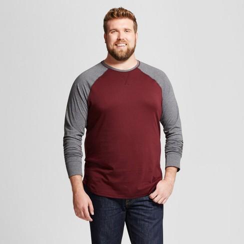 Men's Big & Tall Standard Fit Long Sleeve Baseball T-Shirt - Goodfellow & Co™ - image 1 of 3