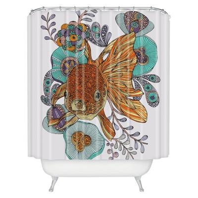 Little Fish Shower Curtain Orange/Green - Deny Designs