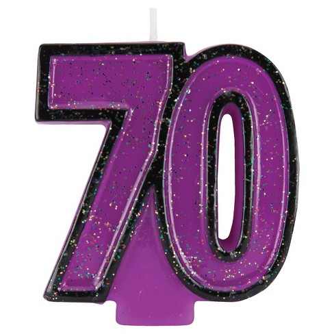 70th Birthday Glitter Candle Target