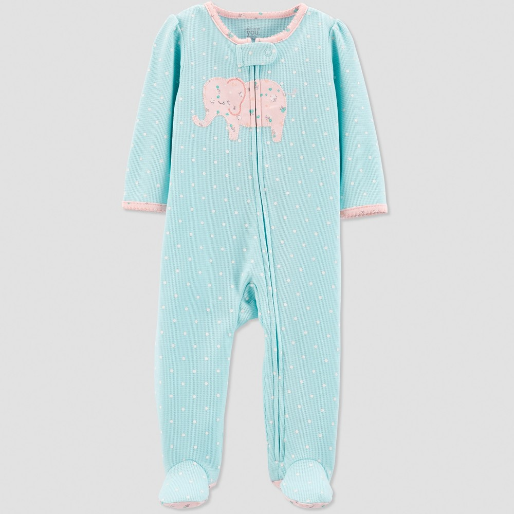 Baby Girls' Thermal Elephant Sleep 'N Play - Just One You made by carter's Blue 9M