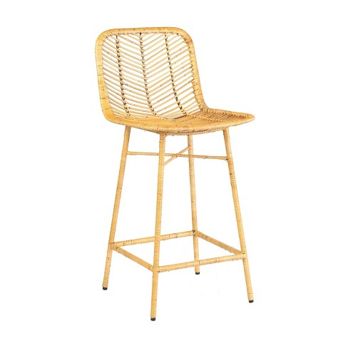 Paradiso Rattan Counter Stool with Wrapped Metal Legs Natural - East At Main - image 1 of 4