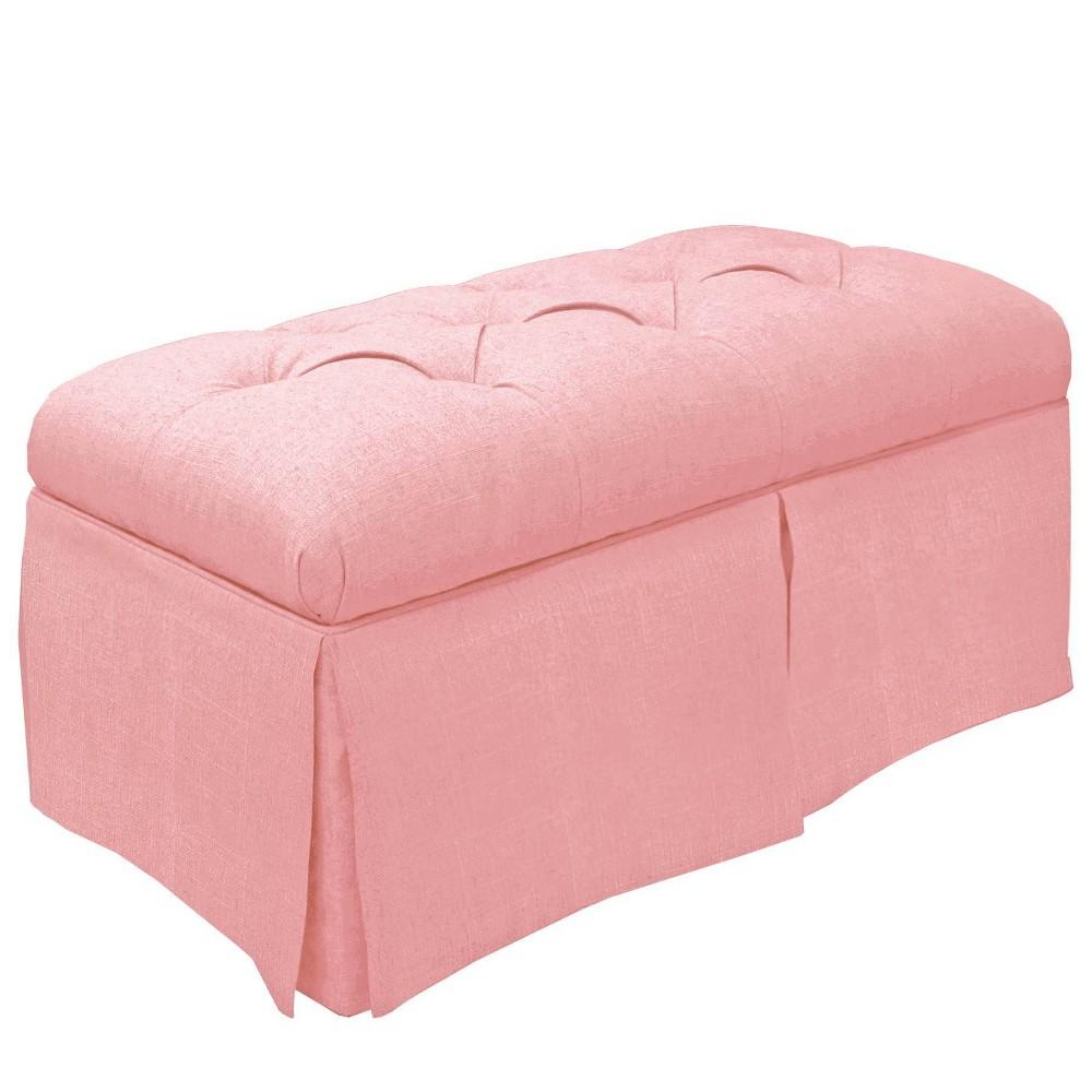 Image of Kids Storage Bench Duck Light Pink - Skyline Furniture