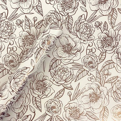 Foil Peonies Gift Wrapping Paper - Spritz™