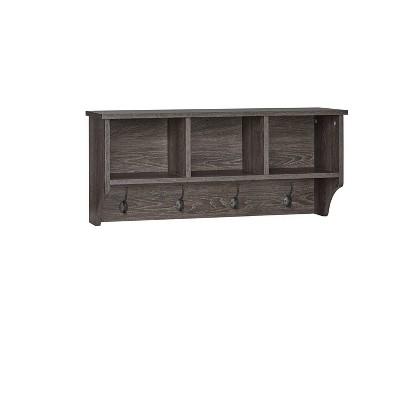 Woodbury Wall Shelf with Cubbies and Hooks Woodgrain - RiverRidge Home