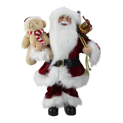 """Northlight 12"""" Traditional Santa Claus Christmas Figure with Teddy Bear and Gift Bag"""