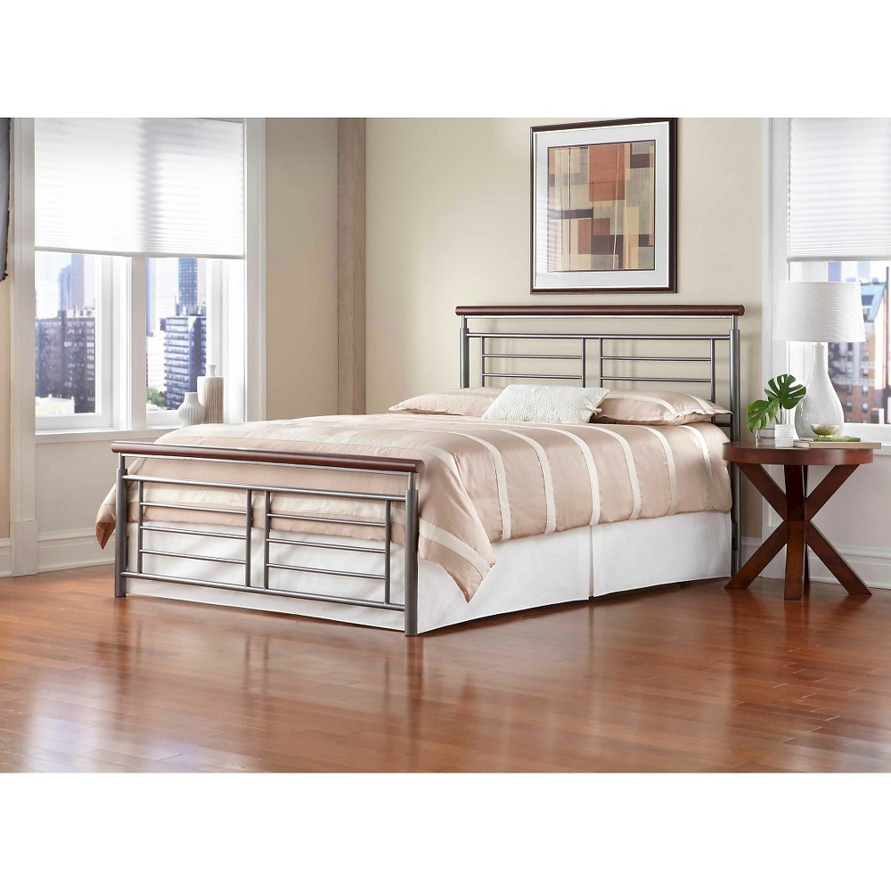 Fontane Bed Silver/Cherry Metal (King) - Fashion Bed Group