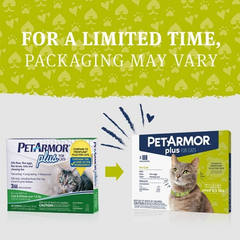 PetArmor Plus Flea and Tick Topical Treatment for Cats - Over 1 5lbs - 3  Month Supply