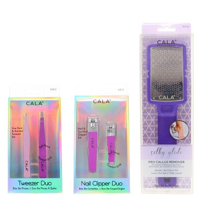 CALA Nail Clipper Duo Orchid, Tweezer Duo Orchid & Silky Glide Pro Callus Remover Purple Combo Pack