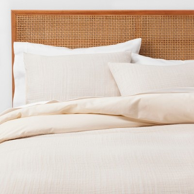 King Yarn Dyed Gauze Duvet Cover Set Cream - Opalhouse™