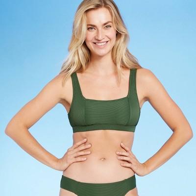 Women's Soft Ribbed Square Neck Bikini Top - Kona Sol™ Dark Green