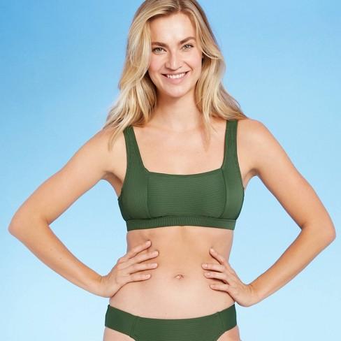 Women's Soft Ribbed Square Neck Bikini Top - Kona Sol™ Dark Green - image 1 of 4