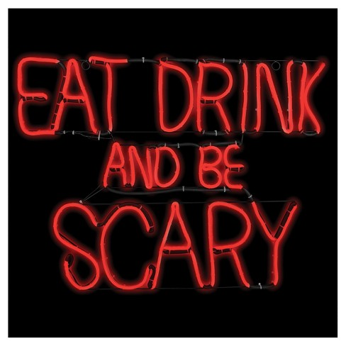 "27 ""Halloween Eat Drink Be Scary Glow Light Sign - image 1 of 1"