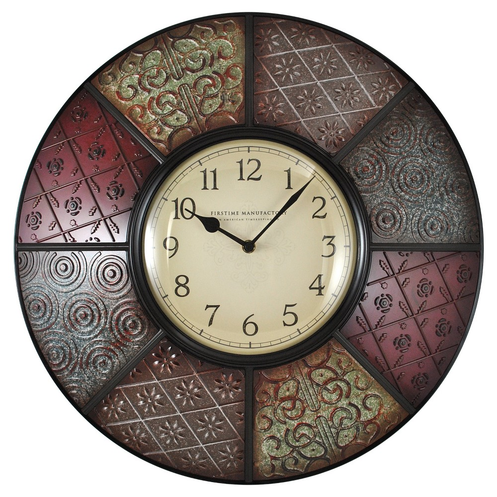 Image of Patchwork 20.5 Round Wall Clock - FirsTime