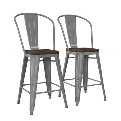 "24"" Lio Metal Counter Height Barstool with Wood Seat Silver - Room & Joy"