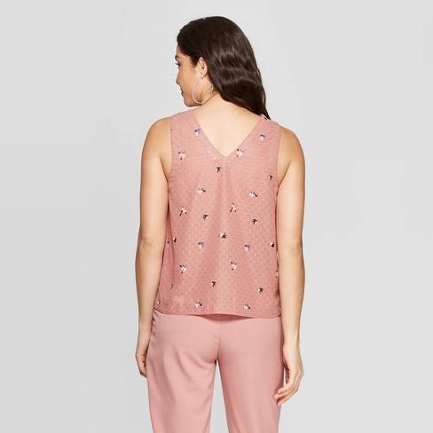 960b925047996 Women s Floral Print Sleeveless V-Neck Dot Shell Shirt - A New Day™ Pink    Target