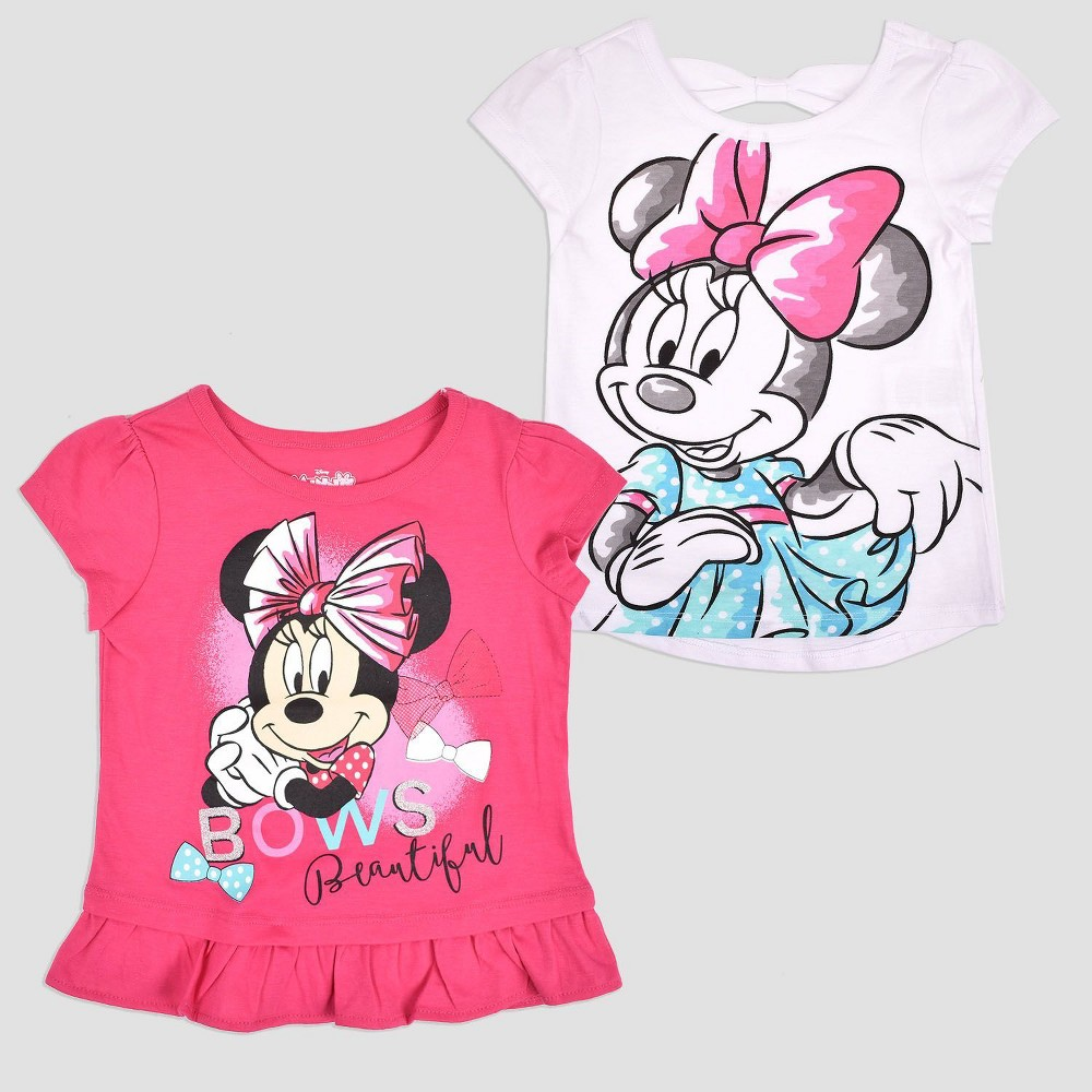 Toddler Girls' 2pk Disney Mickey Mouse & Friends Minnie Mouse Short Sleeve T-Shirt - Pink 18M, Pink White