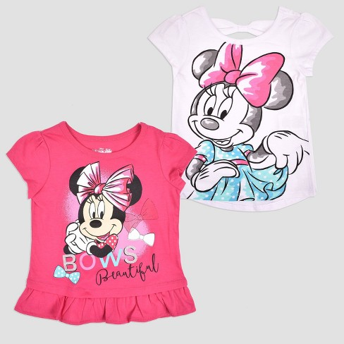 Toddler Girls' 2pk Disney Mickey Mouse & Friends Minnie Mouse Short Sleeve T-Shirt - Pink - image 1 of 3
