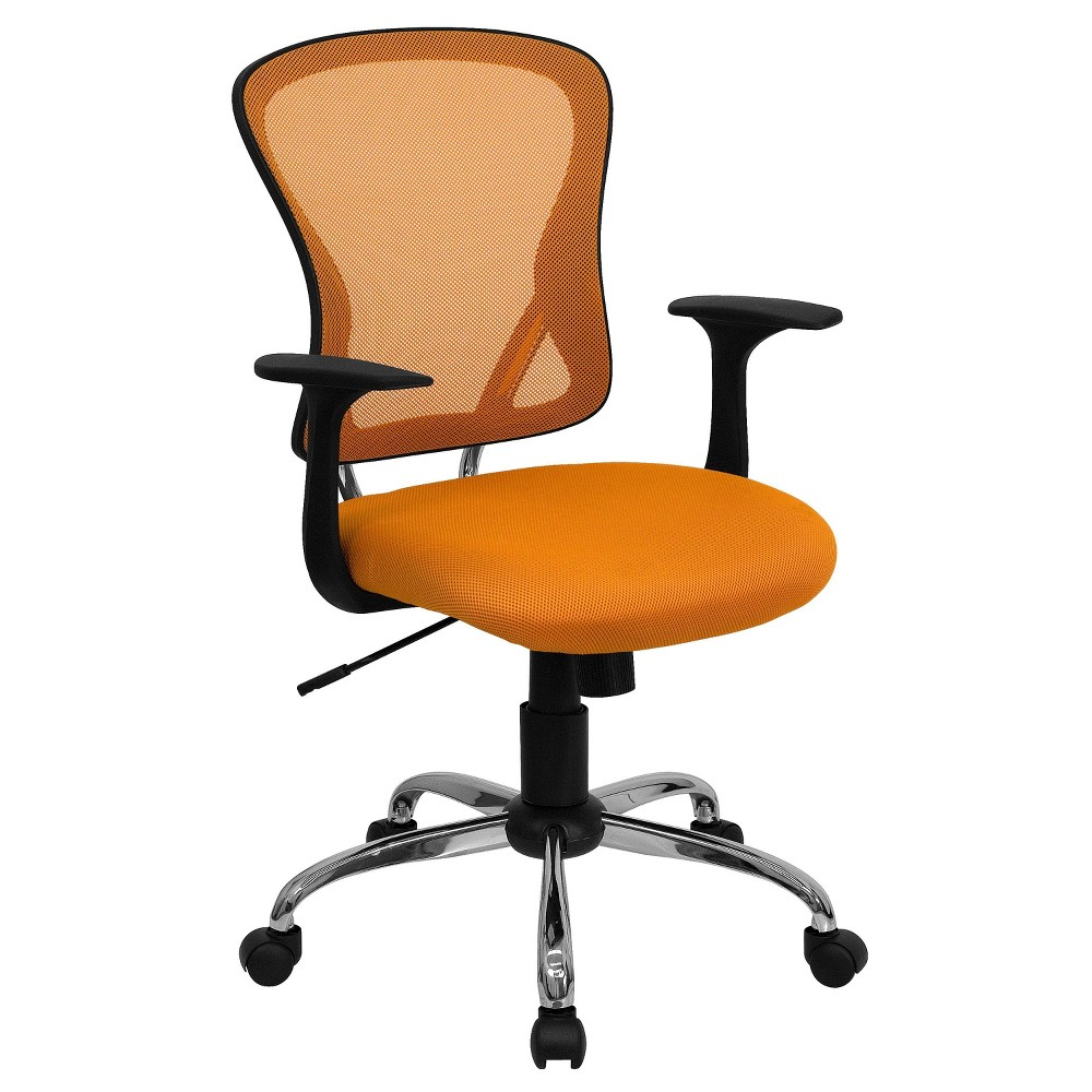 Swivel Task Chair with Chrome Base Orange Mesh - Flash Furniture