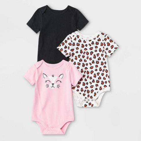 Baby Girls' 3pk Short Sleeve Critter Bodysuits - Cat & Jack™ Black/Pink/White - image 1 of 1