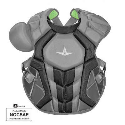 All-Star Sports S7 SEI Certified 16.5 Inch Axis Adult Baseball Softball Catcher Chest Protector with Shoulder and Throat Molded PE Plates, Graphite