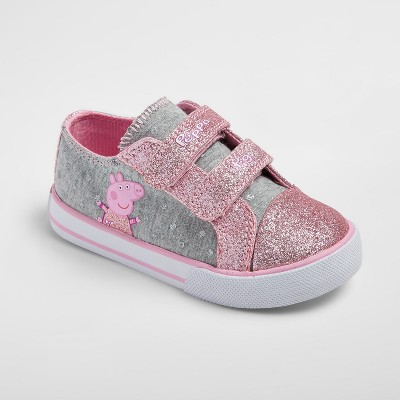 Toddler Girls' Peppa Pig Low Top Canvas Sneakers 9 - Gray