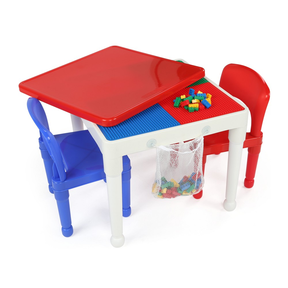 Image of 2 - In - 1 Square Activity Table With 2pc Chair Blue/Red - Tot Tutors