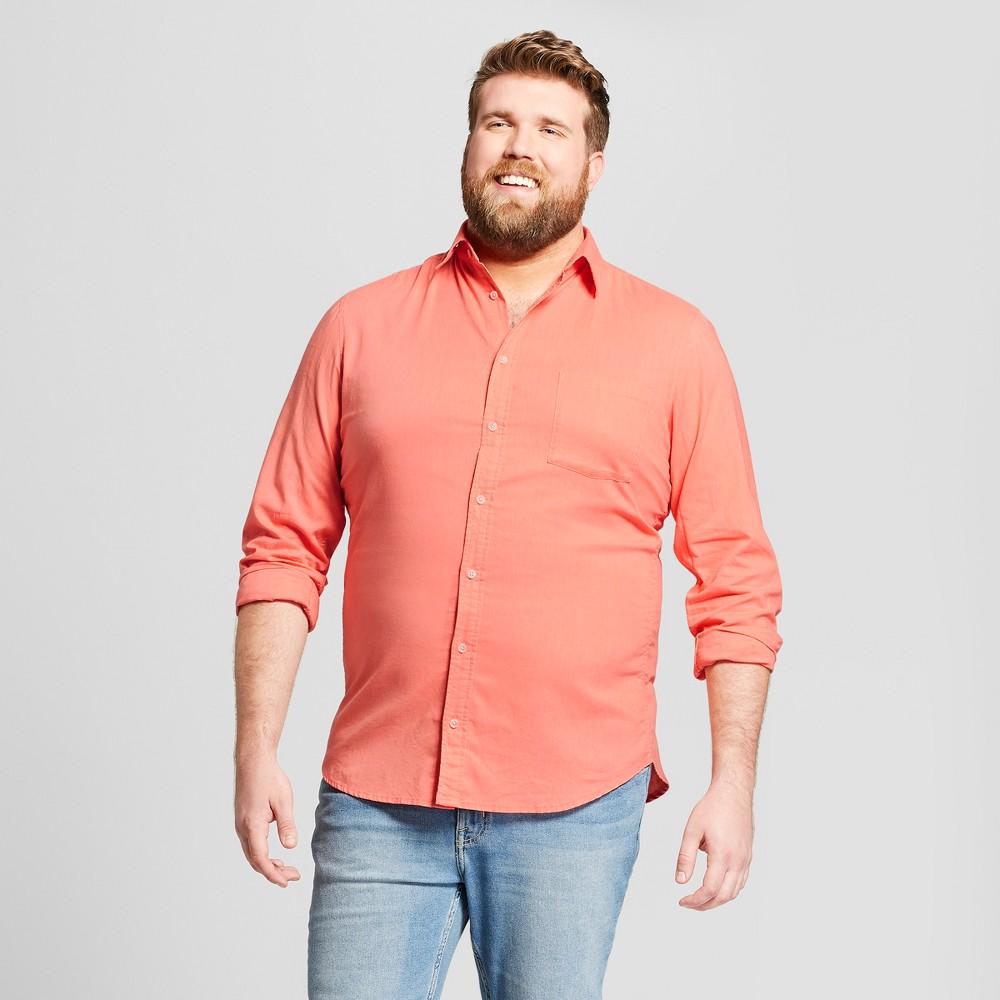 Men's Big & Tall Standard Fit Linen Cotton Long Sleeve Button-Down Shirt - Goodfellow & Co Georgia Peach 2XBT