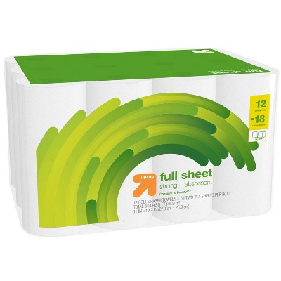 Full Sheet White Paper Towels - 12 Single Plus = 18 - Up&Up™